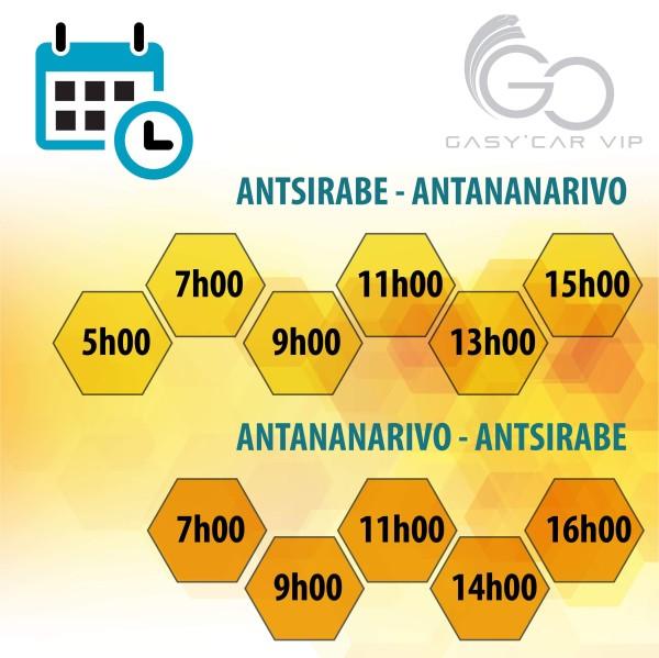 Horaires de la navette GASY'CAR VIP Tana-Antsirabe